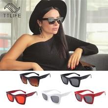 TTLIFE 2019 New Cat Eye Women Sunglasses Tinted Color Lens Men Vintage Shaped Sun Glasses Female Blue Brand Designer