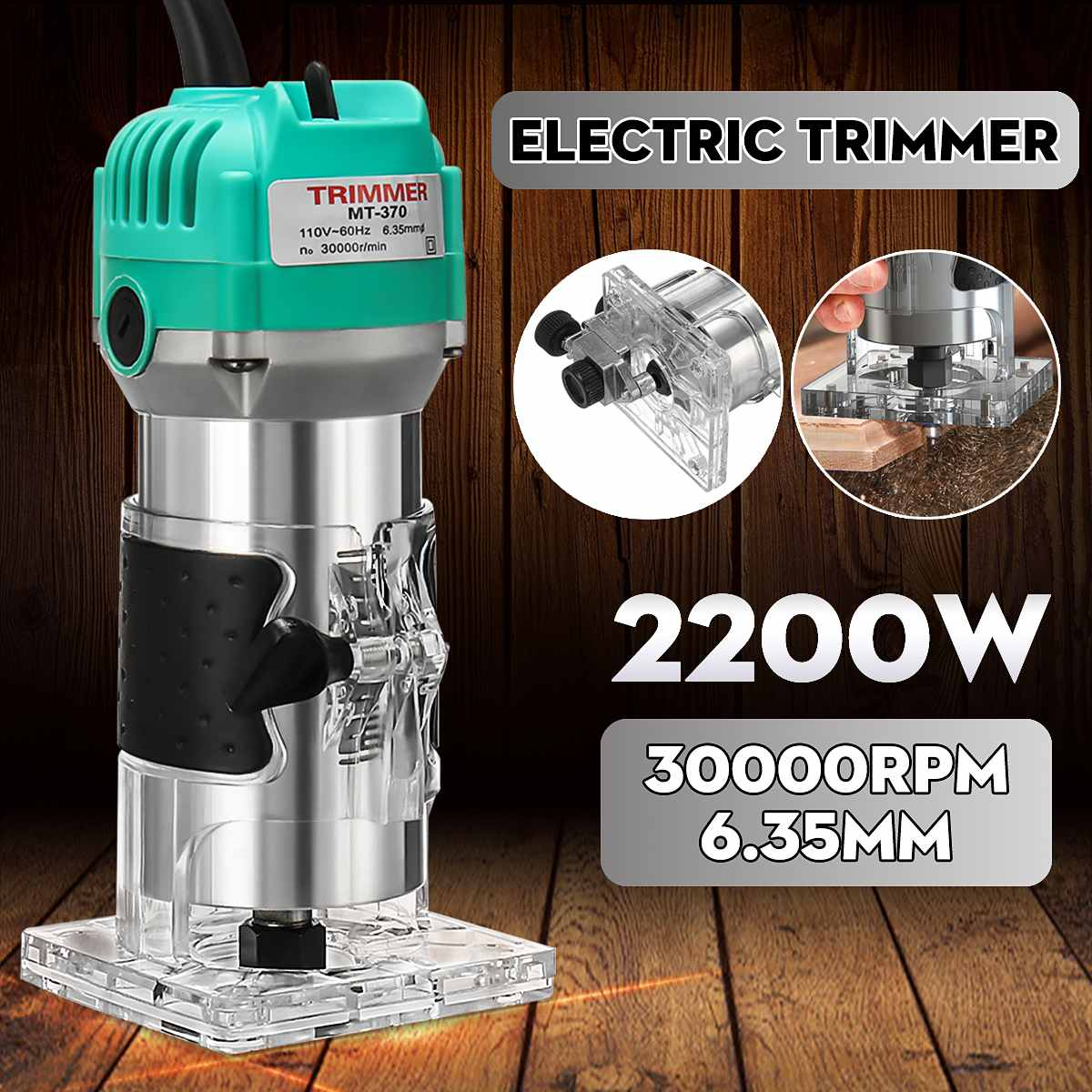 2200W Woodworking Electric Trimmer 1/4Inch Wood Milling Engraving Slotting Trimming Machine Hand Carving Machine Wood Router Set