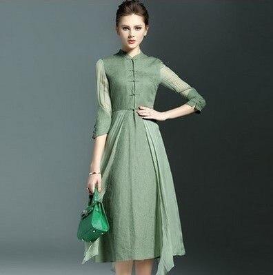 Spring Clothing New Style Retro Printed Asymmetric Skirt Stand Collar Three-quarter-length Sleeve Dress Women's