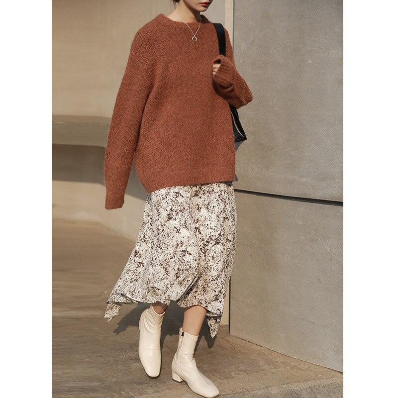 44% alpaga + 15% laine chaud femmes chandails avec manches longues col rond décontracté femmes pull et pulls 2019 automne hiver