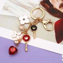 Good luck clover keychain fashion heart-shaped rhinestones flower key ring bag car pendant jewelry womens gift