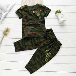 Комплект из 2 предметов: футболка + укороченные брюки, одежда для маленьких мальчиков, военная униформа, камуфляж, армейский костюм с