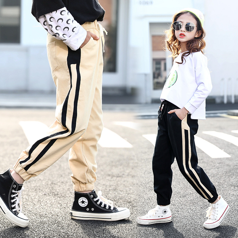Fashion Kids Pants Girls Sweatpants Side Spliced Stripes Casual Trousers Cotton Joggers For 3 4 <font><b>5</b></font> 6 7 8 9 10 11 12 13 Years Girl image