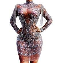 Glistening Diamonds Silver Chain Tassel Women Dresses Long Sleeve Mesh Transparent Tight Stretch Short Dress Nightclub Costumes