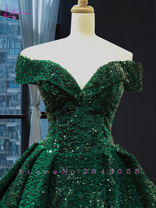 Image 3 - Waulizane Strapless Ball Gown Quinceanera Dress Of Sequin Lace Dark Green Quinceanera Gown