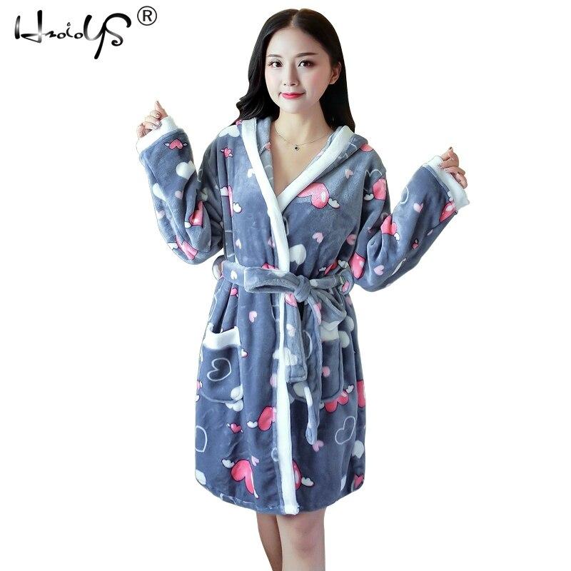 Cartoon Lovely 2019 Thicken Nightgowns Winter Bathrobe Women Pajamas Bath Flannel Warm Robe Sleepwear Womens Robes Coral Velvet