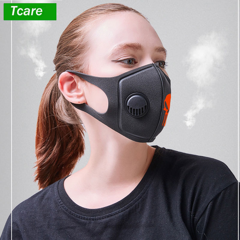 Mouth Mask 3D Cropped Breathable Valve Skull Mouth Mask Respiratory Dust Mask Upgraded Version Men & Women