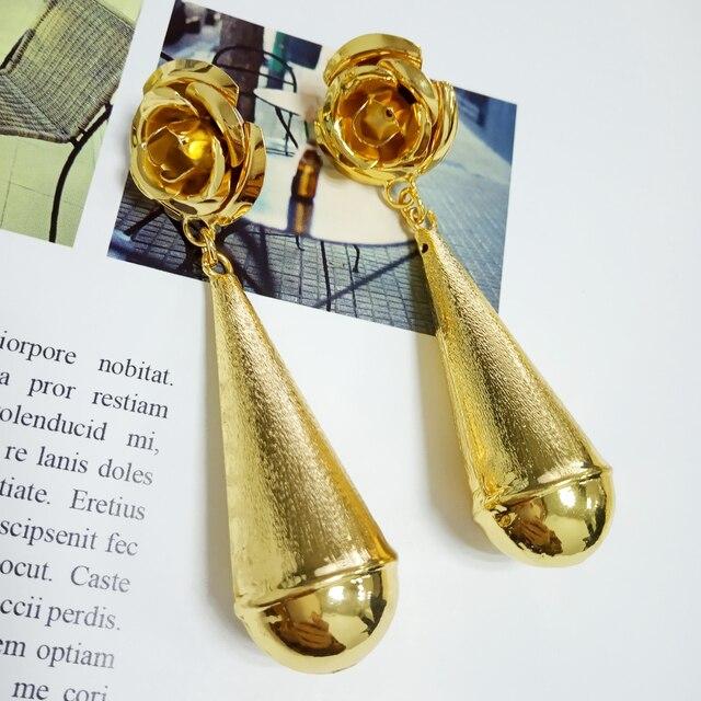 Pendientes de Navidad grandes pendientes cobre dorado alta calidad África joyería larga rose