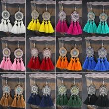 Bohemian Tassel Earrings Sunflower Dreamcatcher Dangle Drop Colorful Long Fringe for Summer Holiday