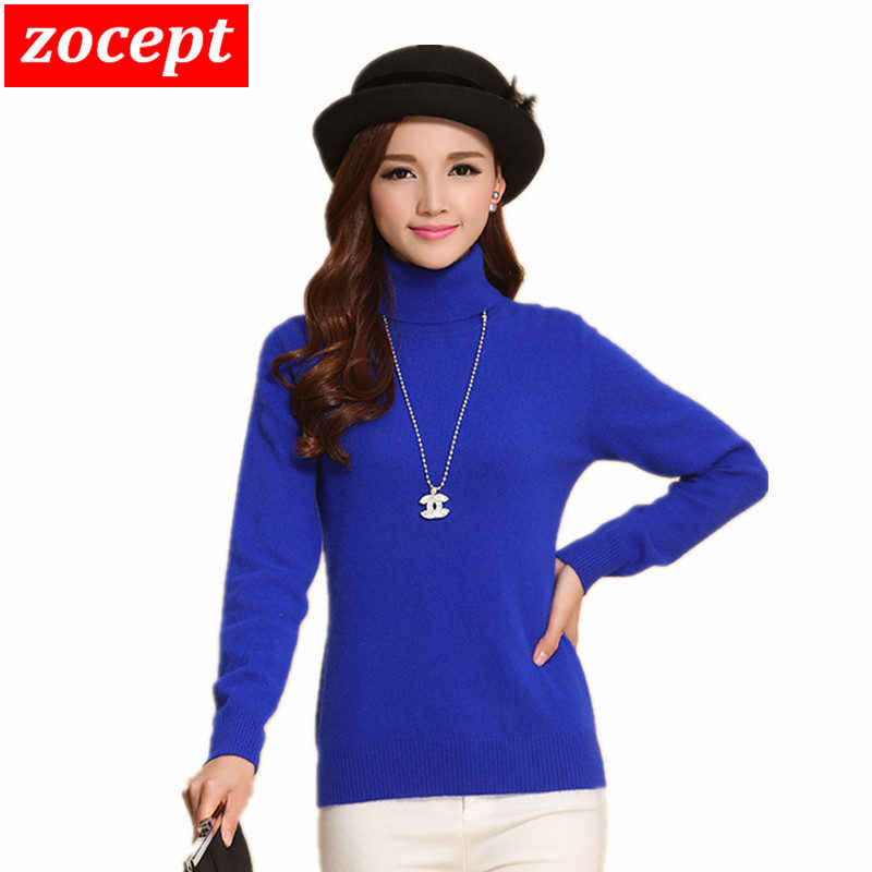 zocept Brand Fashion Women's Cashmere Blend Sweater Winter Female Solid Turtleneck Long-Sleeved jumpers Knitted Warm Pullovers