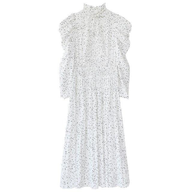 Kuzuwata Vintage Stand Collar Puff Sleeve Women Dress 2021 New Slim Waist Pleated Vestidos Mid Length Flower Print Dresses 5
