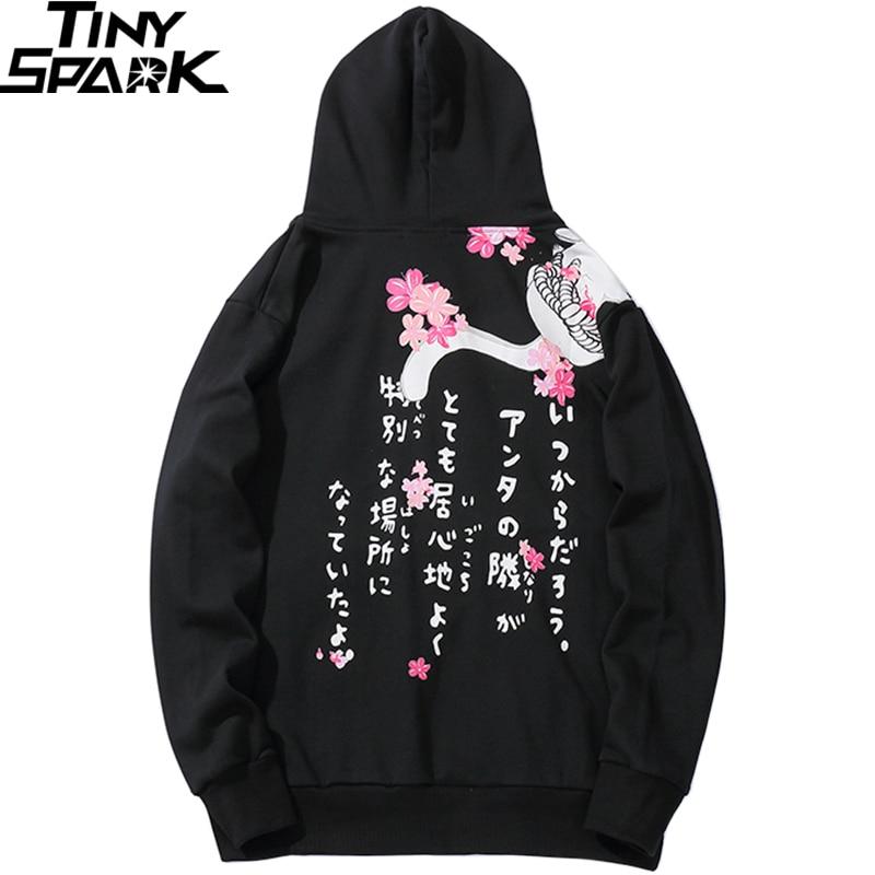 2019 Japanese Streetwear Hoodie Hip Hop Men Harajuku Sweatshirt Hoodie Cat Japan Kanji Printed Cotton Hooded Pullover Oversized