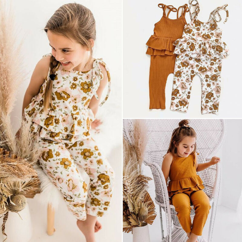 Summer Toddler Baby Girls Strap Flower Sleeveless Romper Jumpsuit Outfit Clothes