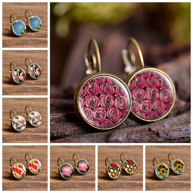 flower white Earring,ethnic bronze pendant,green, gift flowers,colored Mother/'s Day,red pendant cabochon rose,nature