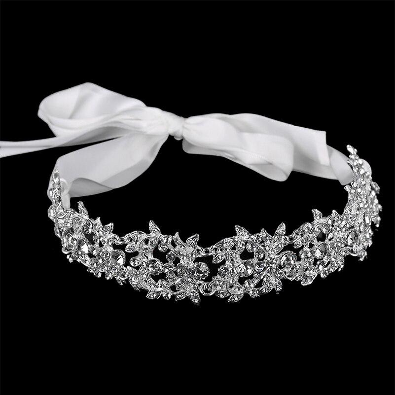 linglewei 2019 New type ribbon bridal crown zinc alloy inlaid with Rhinestone female hair band