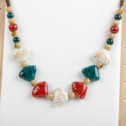 Women's Handcraft Ceramic Necklaces Retro Style Pendan Procelain Necklace For Women Mama Gift #XN048