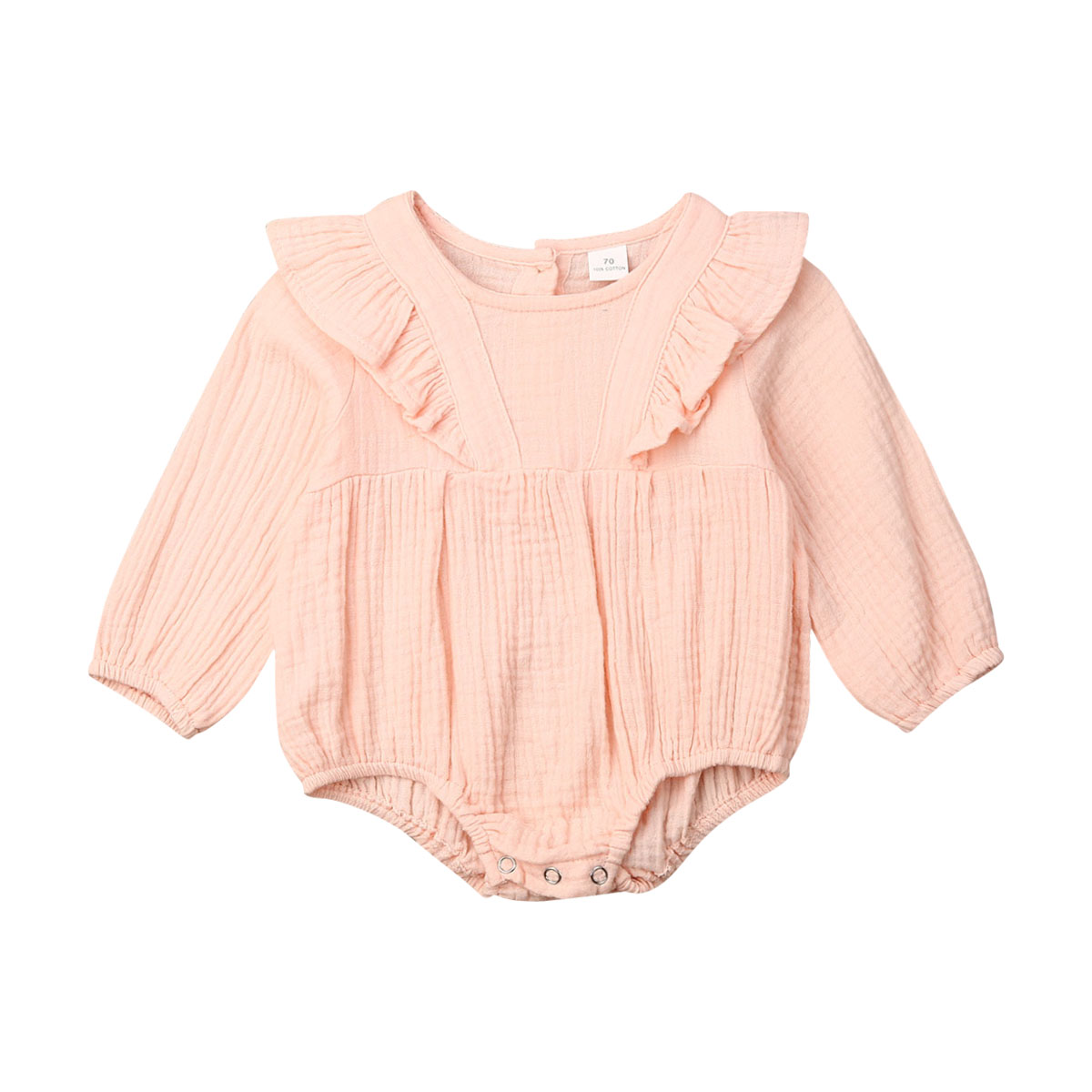 Cute Newborn Baby Girl Long Sleeve Solid Color Cotton Bodysuit Jumpsuit Playsuit Outfits Baby Clothes