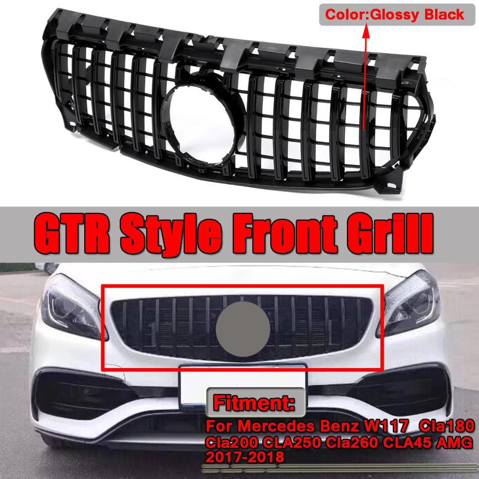 1 Pcs GTR Grill Grille For Mercedes Benz CLA Class W117 CLA200 <font><b>CLA250</b></font> 2017-18 GT Car Accessories Glossy Black Car Styling AMG image
