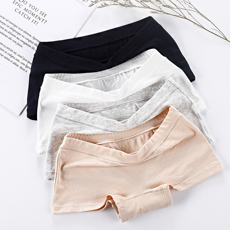 4color Womens Breathable Safety Short Pants Hot Sale Cotton Seamless Mid-Rise Solid Cotton Crotch  Girls Summer Necessary Shorts