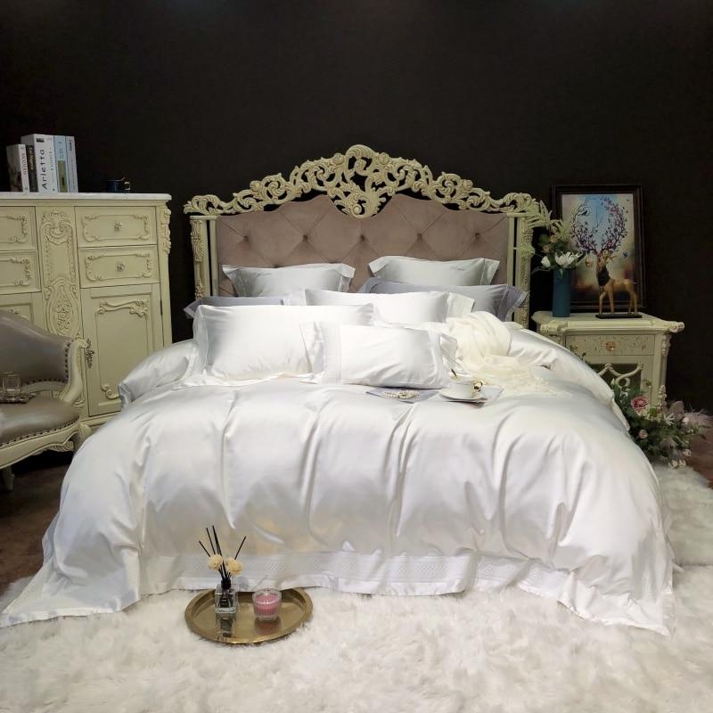 4/7Pcs Solid Color White Grey Silk Satin Cotton Bedding Set Soft Duvet Cover Bed Sheet Set Pillowcase Queen King Size 4Pcs