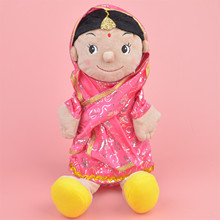 35cm India Girl Plush Hand Puppet plush toy, Family Stuffed Baby / Kids Doll Develop Toy Gift Free Shipping