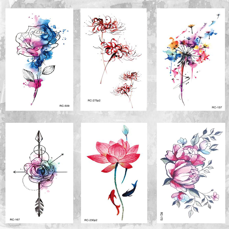 East Light Color Lotus Tattoo  Body Art Beauty Makeup Waterproof Temporary Tattoo Stickers