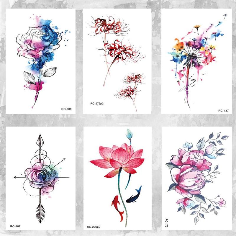 East Light Color Lotus Tattoo  Body Art Beauty Makeup Waterproof Temporary Tattoo Stickers