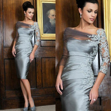 Party-Gown Formal-Dress Mother-Of-The-Bride-Dress Wedding Evening Lace Long-Sleeve Silver