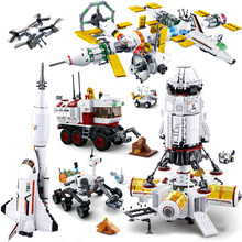sluban Space Station Rocket Compatible Spaceship Space Shuttle Ship Figures Model Building Blocks Bricks Educational Kids toys(China)