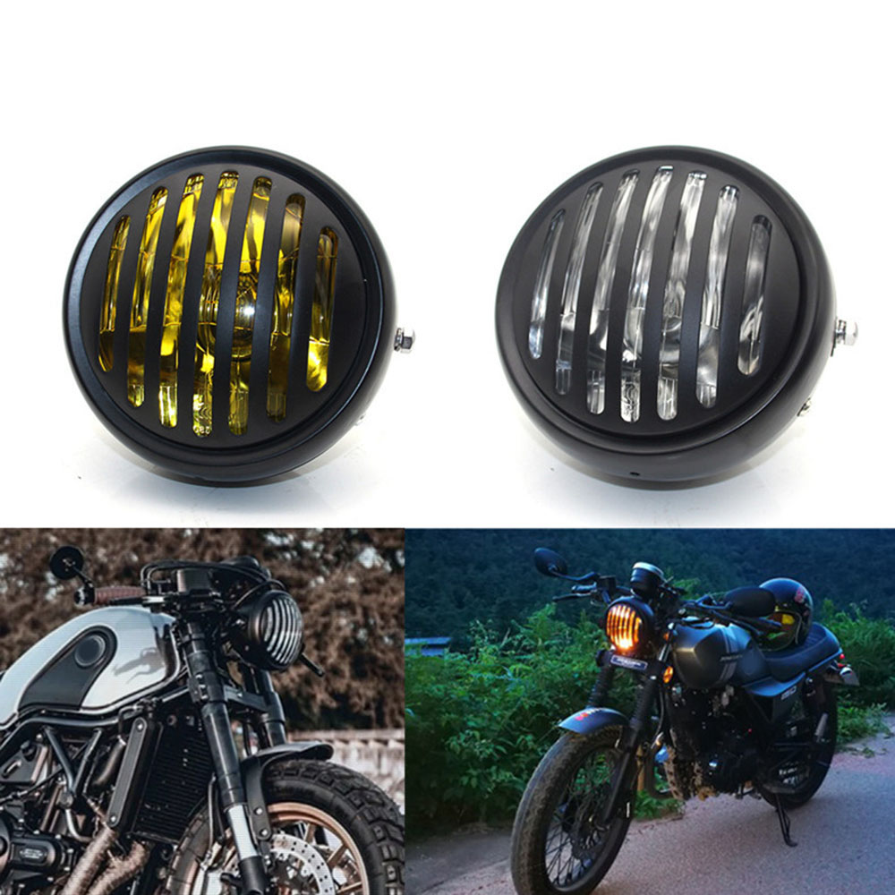 12V Motorcycle Headlight With Bracket Motorbike Retro Headlamp Motor Moto Scooter Vintage Front Light Round Lamp