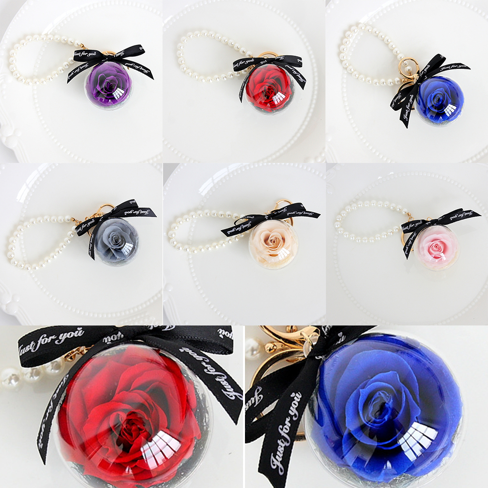 Eternal Flower Natural Dried Flowers Pendant Keychain Make A Wish Christmas Thanksgiving Valentine's Day Pendant Birthday Gifts