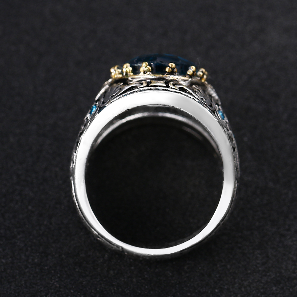 Bague Ringen 925 Silver Jewelry Vintage Rings For Women Men 10x14mm Aquamarine Gemstone Ring Anniversary Fine Jewlery Gifts 3