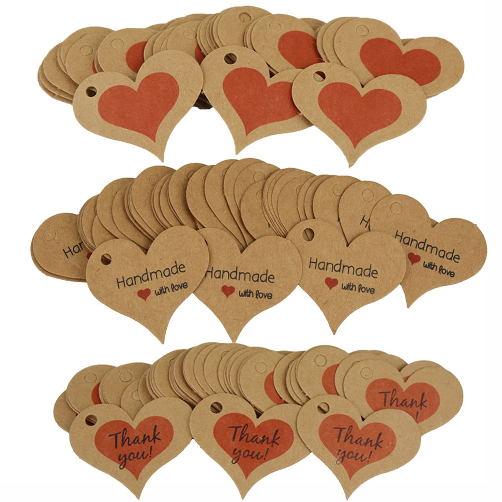 100pcs Kraft Paper Heart Shape Hanging Tags Thank You Label DIY Gift Wrapping For Baby Shower Wedding Valentines Day Party Decor