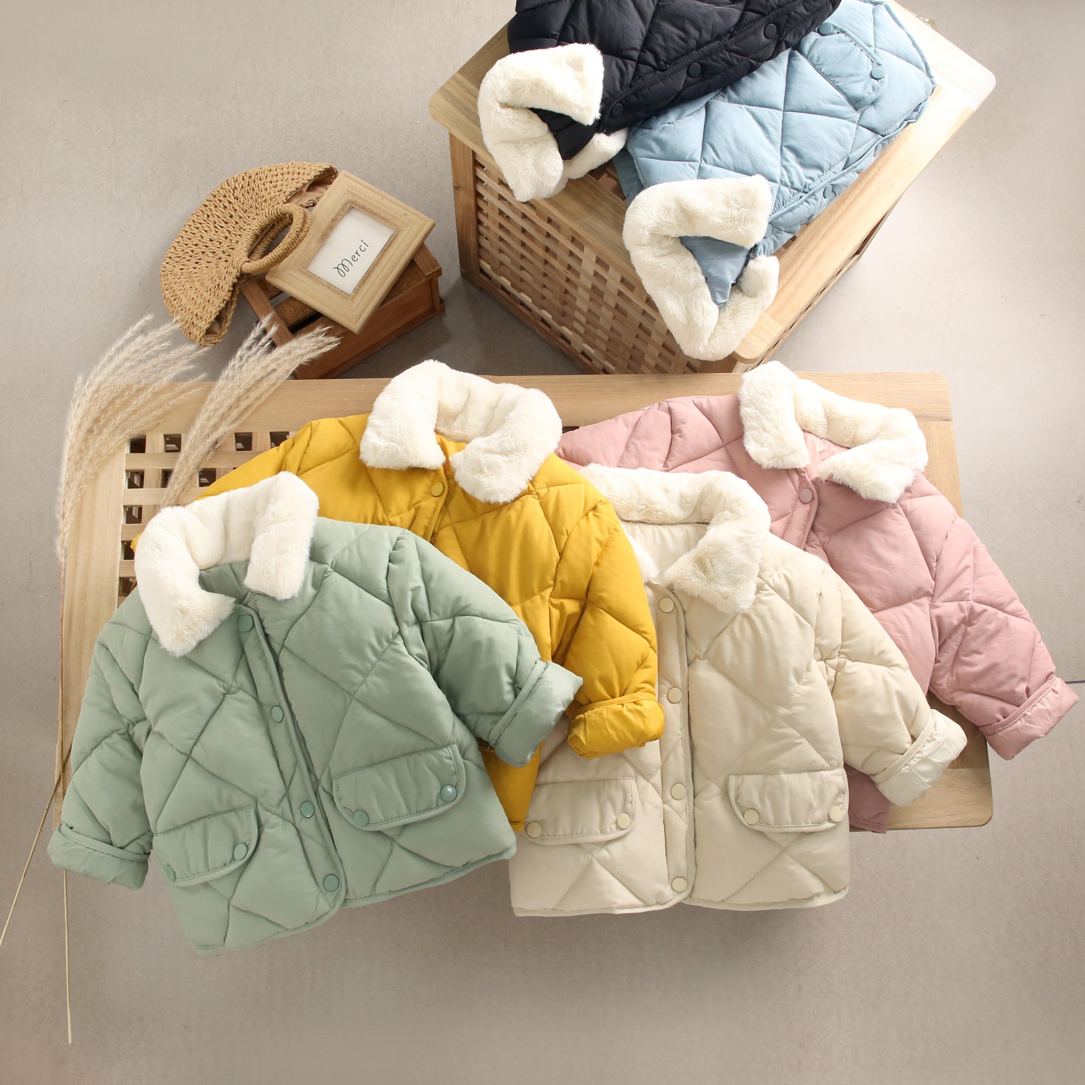 16.94US $ 35% OFF 2021 New Winter Children's Warm Cotton Jackets Girls Clothes Kids&Babys Rabbit Fur...