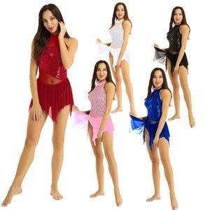 Image 5 - Tiaobug fantasia feminina sem mangas, collantejoulas brilhantes malha irregular emendada figura patinar ginástica collant traje de dança do balé