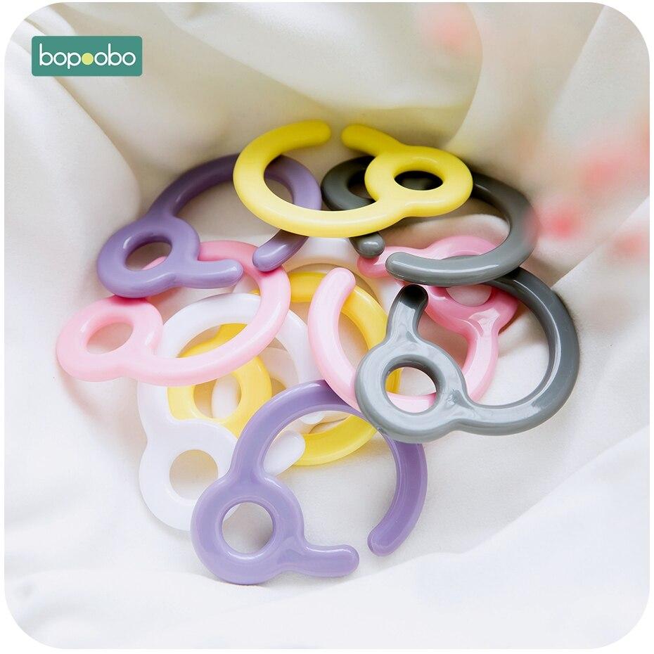 Bopoobo 5pcs Plastic Teething Ring Links For Baby Stroller Toys Pacifier Hook Plastic Teething Diy Dummy Clips Baby Teether