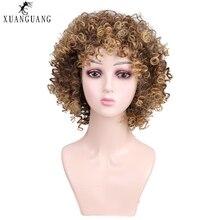 Парик synthétique courtes perruques bouclées pour femmes; cheveux bruns волокна модная одежда по индивидуальному заказу, température смешанной couleur brune