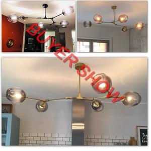 Image 5 - Moderno Lampadario In Vetro di Illuminazione Per Pubilc Loft AC 85 265V Max 60W/riscalda Placcato Grigio Chiaro ambra Paralume In Vetro Lampada Da Soffitto