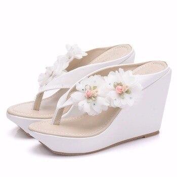 2018 New Large Size Bohemian Style Wedge Sandals Beach Flip-Flops White High Heel Sandals Sweet Simple Ladies Slippers