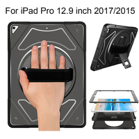 Case for iPad Pro 12.9 inch 2017 2015 with 360 Rotating Hand Strap and Kickstand Heavy Duty Shockproof Protection Cover MTL02|Tablets & e-Books Case| |  -