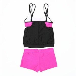 Image 5 - 2020 Plus rozmiar stroje kąpielowe kobiety zestaw Tankini dwuczęściowy strój kąpielowy wysokiej zwężone kostiumy kąpielowe Vintage Bikini w stylu Retro strój kąpielowy
