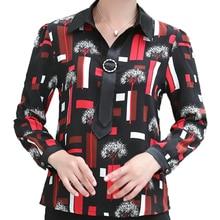 цена Office Lady Elegant Shirt Smart Casual Red Black Tree Pattern Printing Chiffon Top Woman Turn Down Collar With Tie Ribbon Blouse в интернет-магазинах