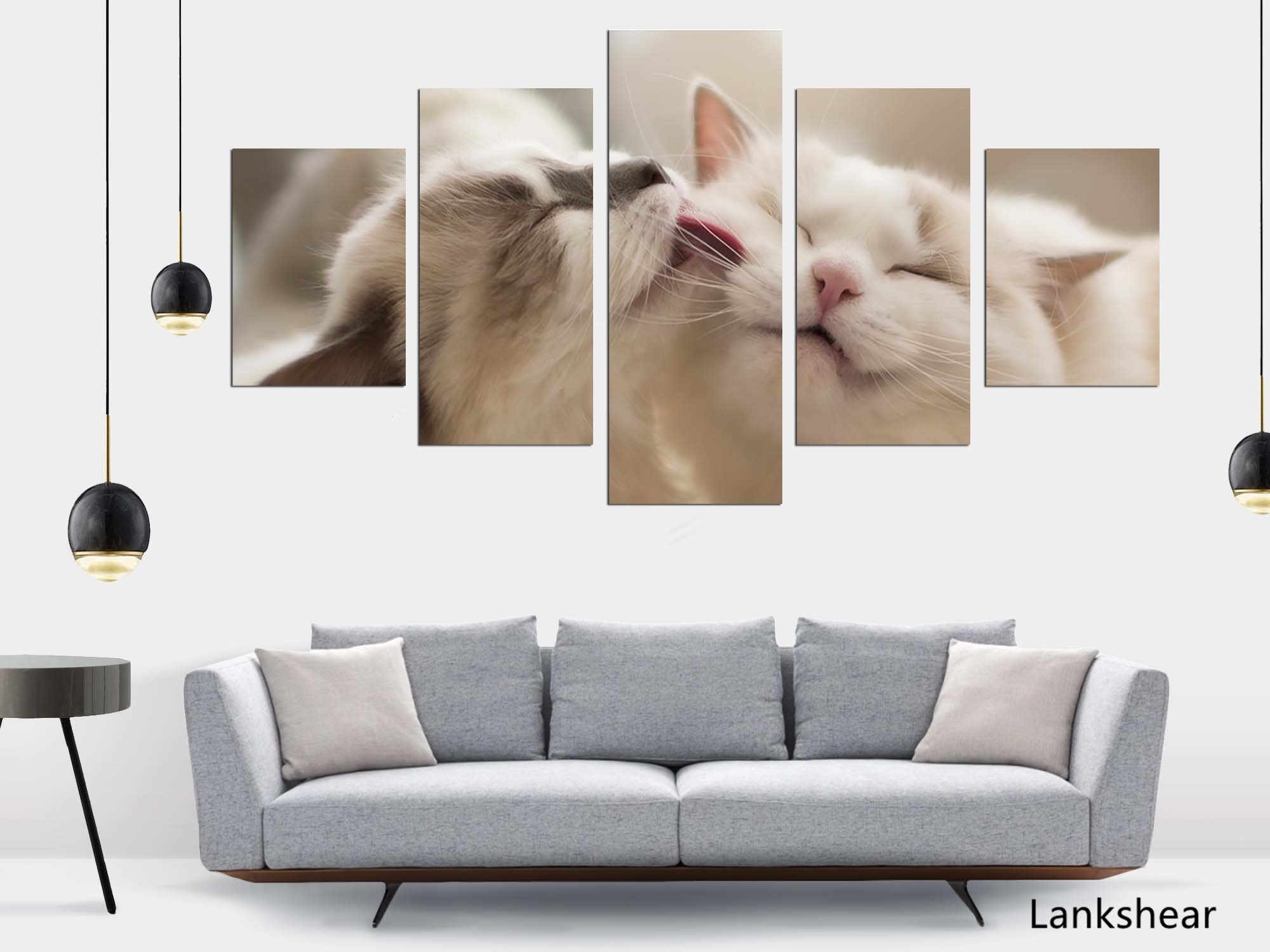Hd Prints Canvas Wall Art Living Room Home Decor Pictures 5 Pieces Love Cats Canvas Paintings Animal Posters Framework Decor Aliexpress