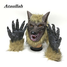 Ataullah Creepy Full Face Wolf Latex Mask Claws Gloves Halloween Prank Prop Horror Devil Cosplay Costume DW006