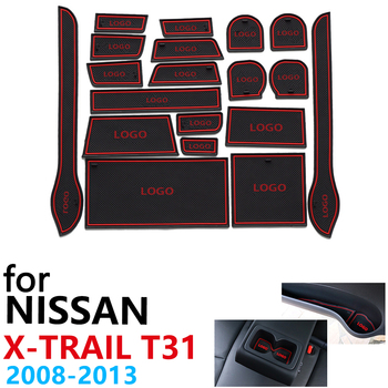 Antideslizante de caucho taza cojín puerta ranura Mat para Nissan X-Trail T31 X rastro XTrail 2008 ~ 2013, 2010, 2012 para teléfono