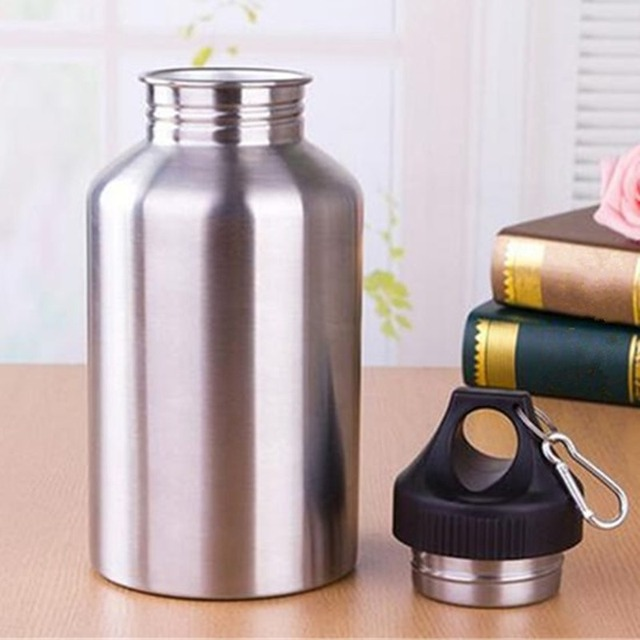 304 Stainless Steel 2000ml Hiking Sports Drink Water Bottle 2L with New Hook 1 Set Protector Bag 3