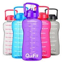 Quifit motivacional 2l 64oz garrafa de água bpa livre com palha telefone titular alça lembrete para beber mais diário à prova de vazamento jarro