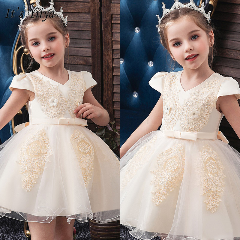It's YiiYa Flower Girl Dresse Elegant Print O-neck Girls Pageant Dresses Apliques Short Tank Vestidos De Noches Para Ninas 191