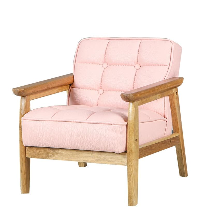 Japanese Solid Wood Leather Art Sofa Lovely Children's Sofa Girl's Kindergarten Baby Chair Single Double Sofa
