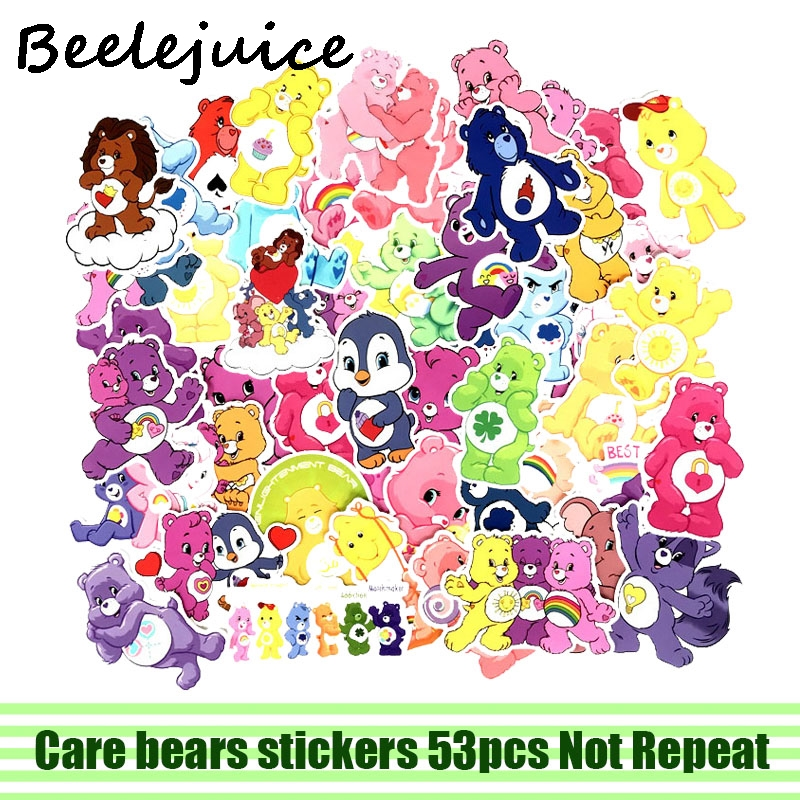 53pcs Care bears cartoon decal scrapbooking diy stickers home decoration phone laptop waterproof accessories